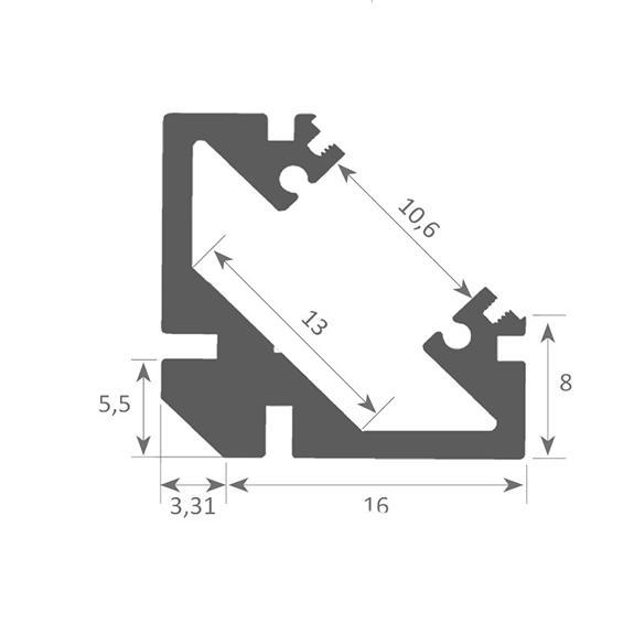 Profilé sailli coin 45° SOPHIA en vente chez CONNECTILED